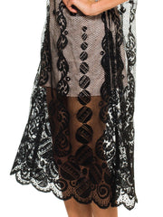 1920s Art Deco Silk Lace Dress