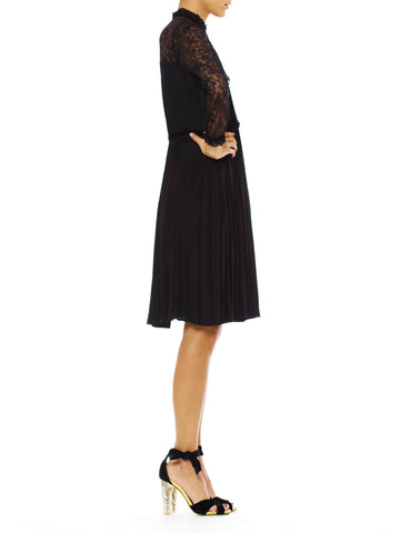 1970S Black Silk Faille Couture Hand Pleated LBD Dress With Lace Sleeves & Victorian Collar