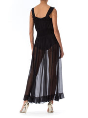 1930s Black Silk Crepe Pleated Slip Gown accordian technick pleating slip