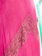 1930s Silk Fuchsia Bias Cut Lace Details Maxi Dress Nightgown Lingerie