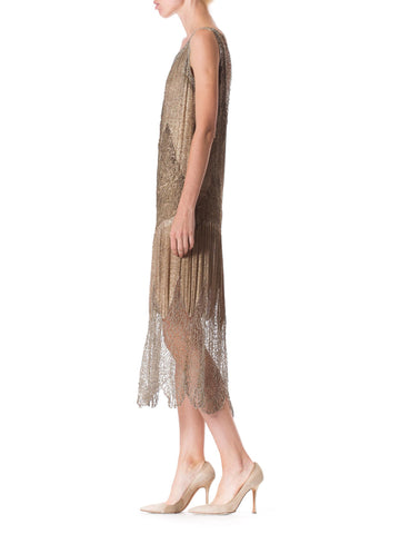 1920S Champagne Silver Silk Lamé Cocktail Dress With Beaded Spiderweb Metallic Lace