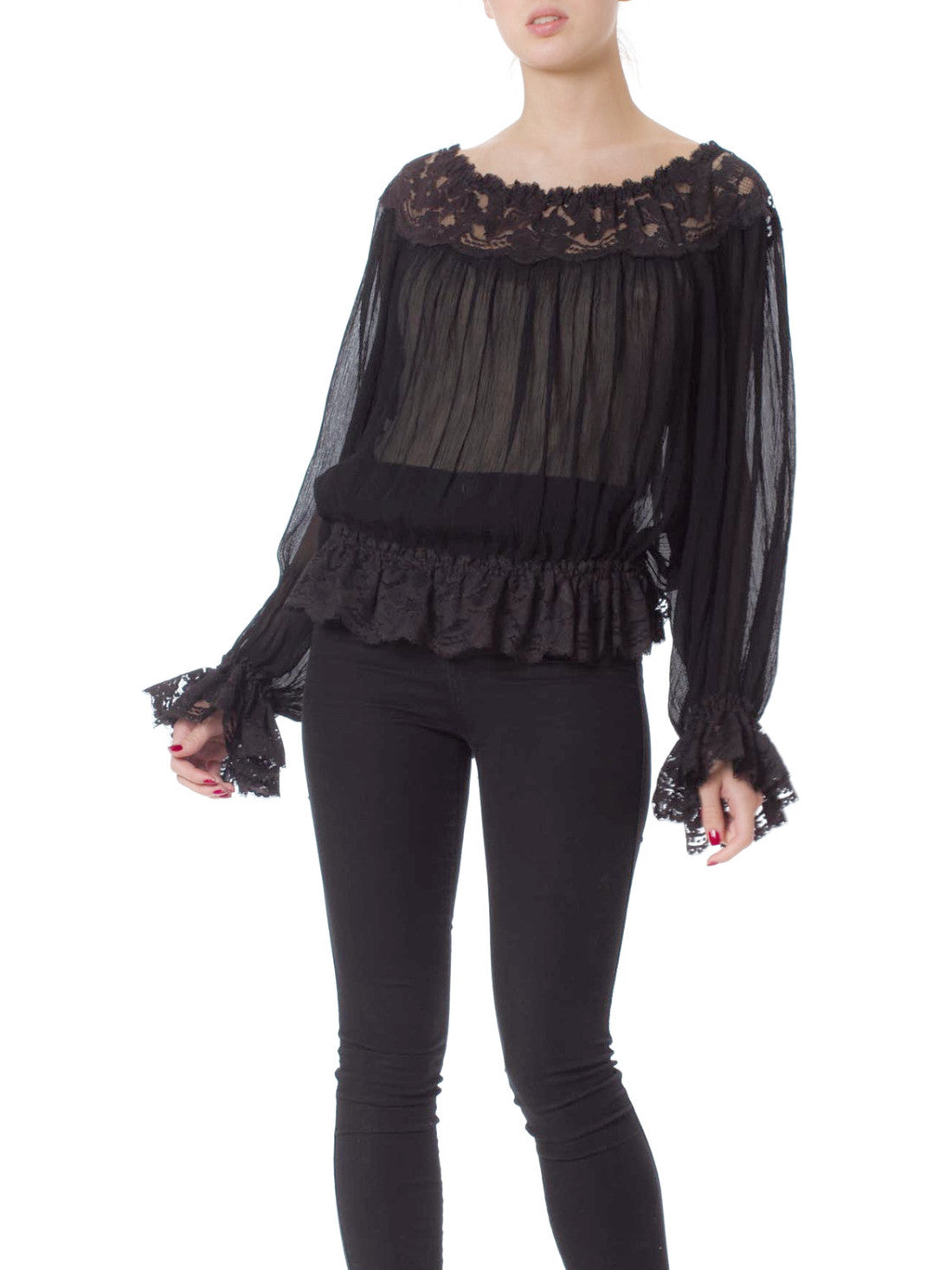 1970s Black Peasant Style Crepe and Cut Out Lace Bishop Sleeve Blouse