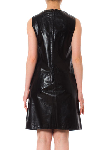 1960S Black & Brown Leather Mod Shift Dress From Italy