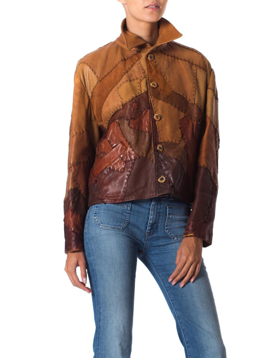 1960s Artisanal Patchwork Soft Leather Jacket