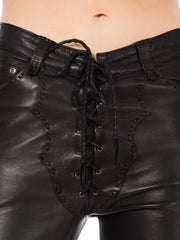 1970s North Beach Leather Black Whip Stitched Pants