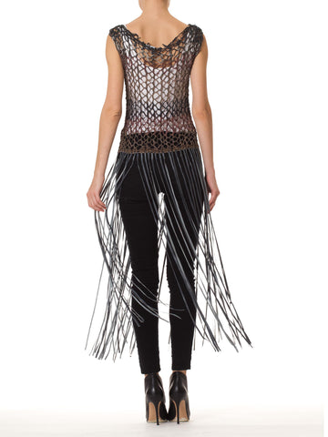 1980S Leather  Hand Knit Fringe Tunic