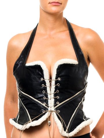 1980S Byron Lars Black & White Leather Fur Lace Front Halter Bustier
