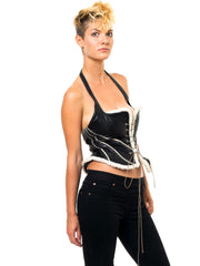 Black Leather Lace-Up Halter Bustier/Vest