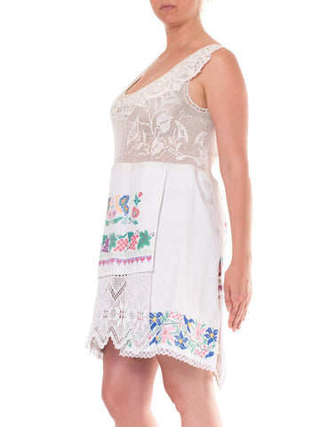 1920S  Morphew Collection Cotton And Linen Edwardian Hand Made Lace Tunic With Eastern European Embroidery
