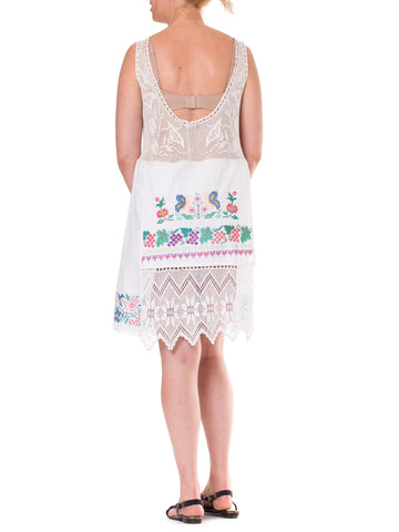 MORPHEW COLLECTION White Cotton & Lace Edwardian Hand Embroidered Dress