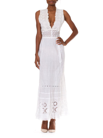 MORPHEW COLLECTION White Organic Cotton Eyelet Lace Maxi Dress Made From Victorian Hand Embroidered