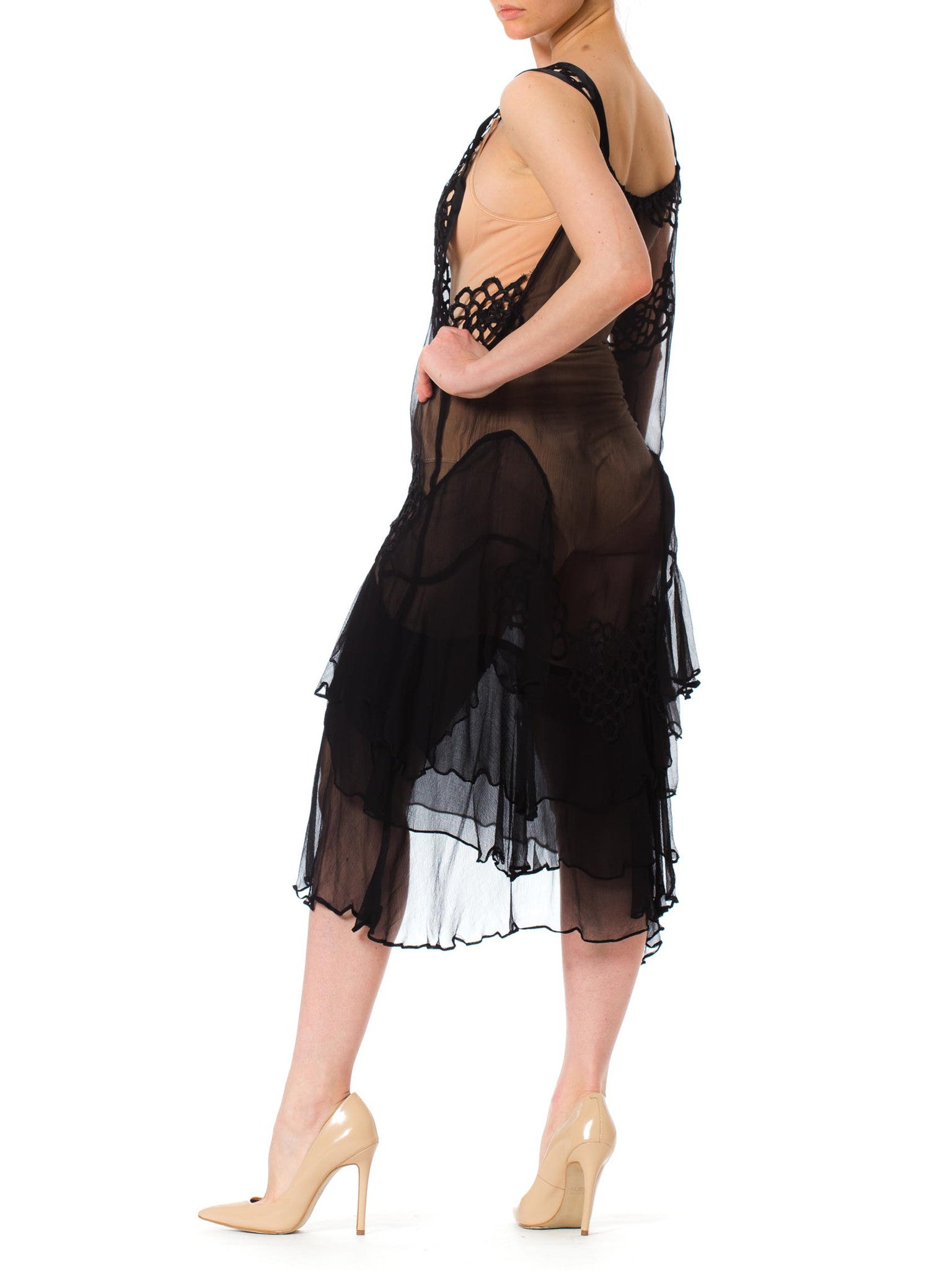 Morphew Lab 1920s Style Sheer Cocktail Dress Made of 80s Black ...