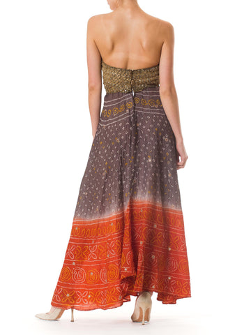 MORPHEW COLLECTION Hand Dyed Shibori Silk & Metalilc Gold Indian Embroidered Strapless Gown