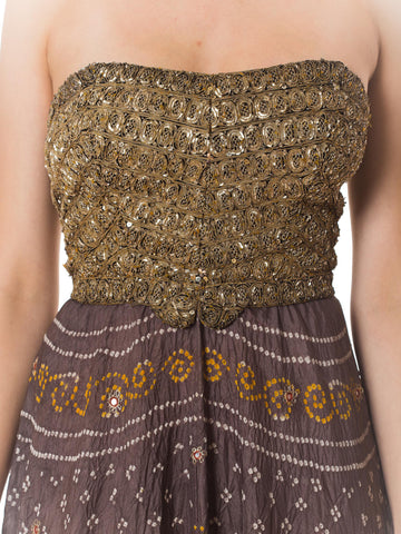 2000S Morphew Collection Silk  Bodice Stretches To Form Metal Indian Batik Dress