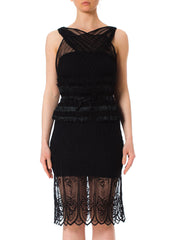 Morphew Lab Sheer Black Raffia Waist Sleeveless Dress made of 1930's Lace