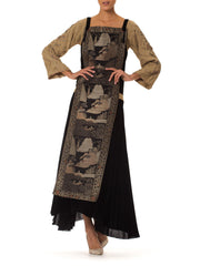 1920s Silk Velvet Dress with Antique Japanese Tapestry