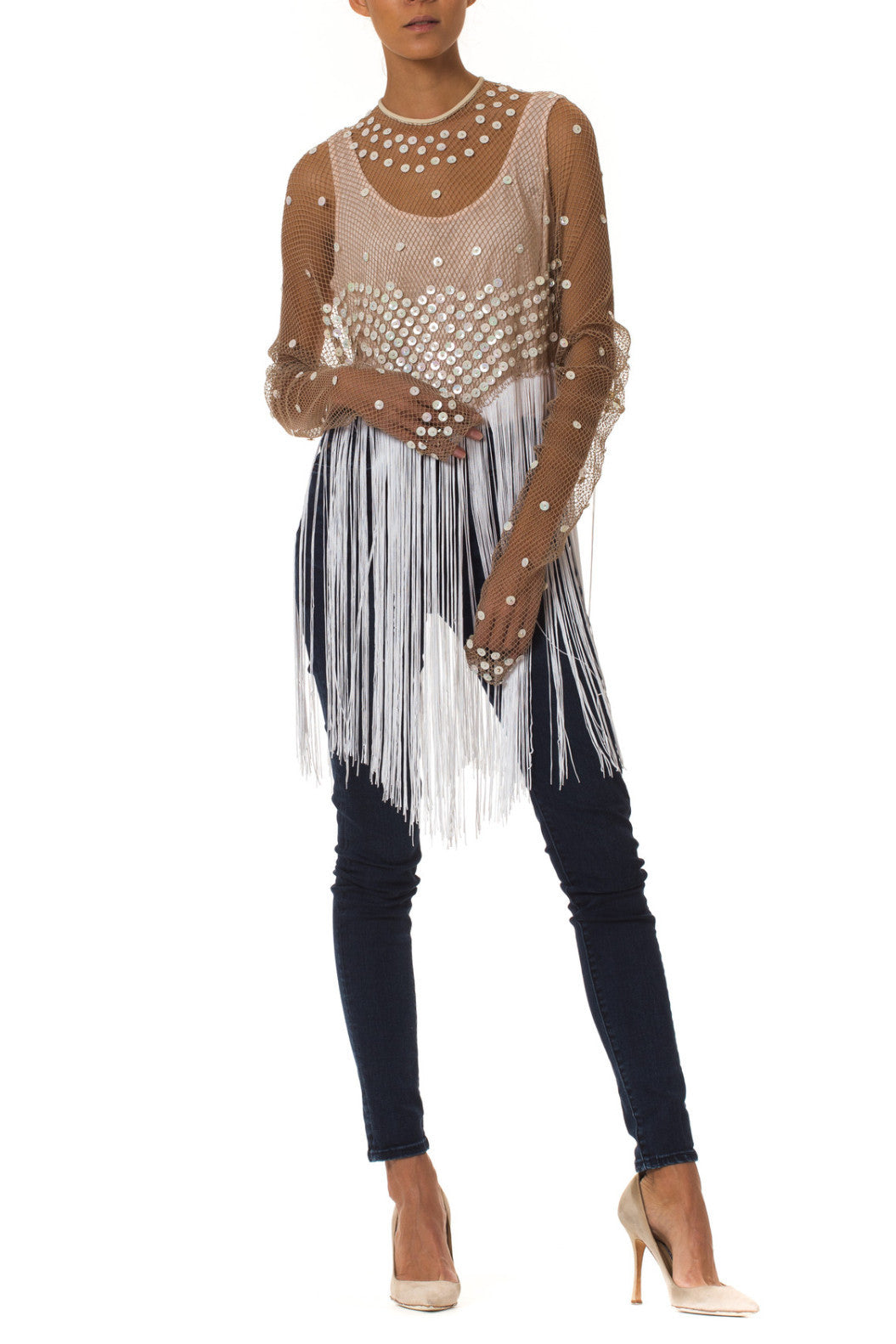 1960s Fab and Fun Fringe Fishnet Top