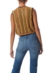 1970s Boho Vest Made with Wood Beads