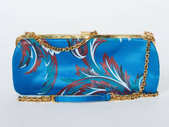 1990S Gianni Versace Baroque Satin Clutch With Gold Chain Strap & Crystals Handbag