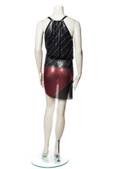 Morphew Collection Black and Red Metal Mesh Dress