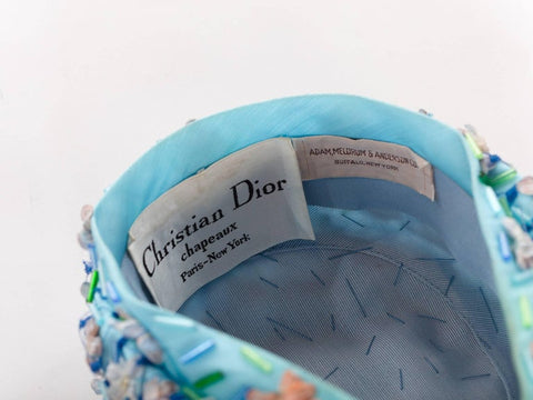 1960S CHRISTIAN DIOR Baby Blue Floral & Net Hat