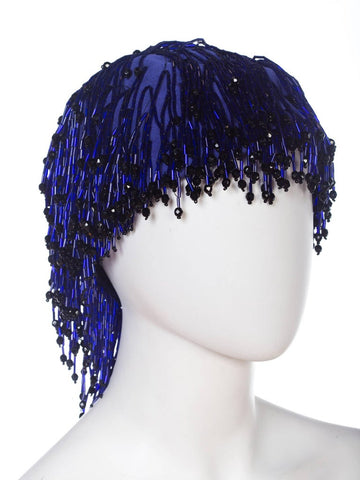 1970S Cobalt Blue Beaded Fringe Silk Cloché By Tony Chase Hat