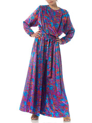 1980s Purple Floral Silk Satin Dress