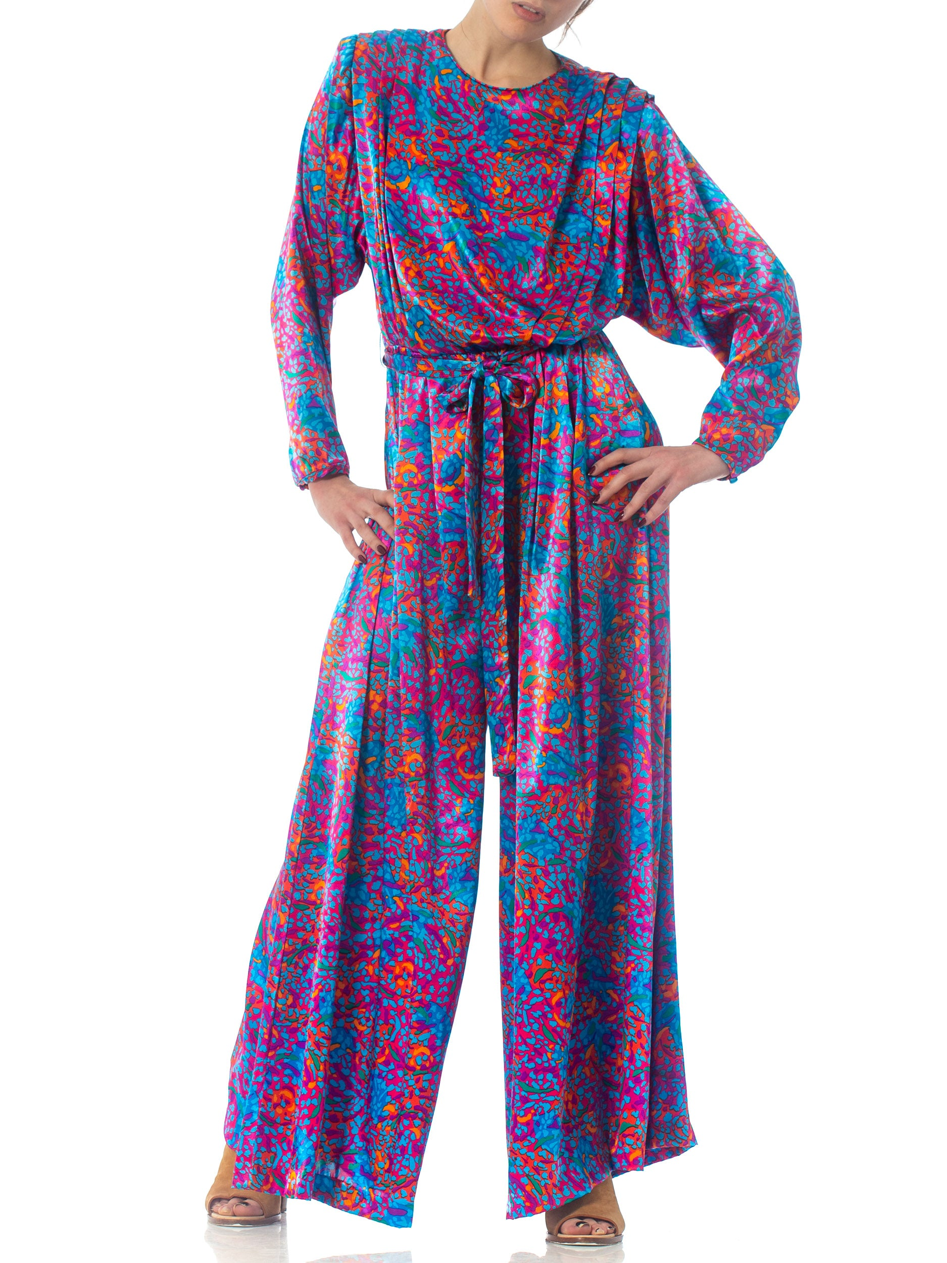 1980S Purple Floral Polyester Satin Jumpsuit