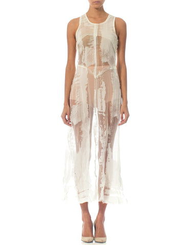 "1990'S JEAN PAUL GAULTIER White Sheer Poly Blend Burnout Chiffon Logo Dress From The ""Burnt Edge"" Collection"
