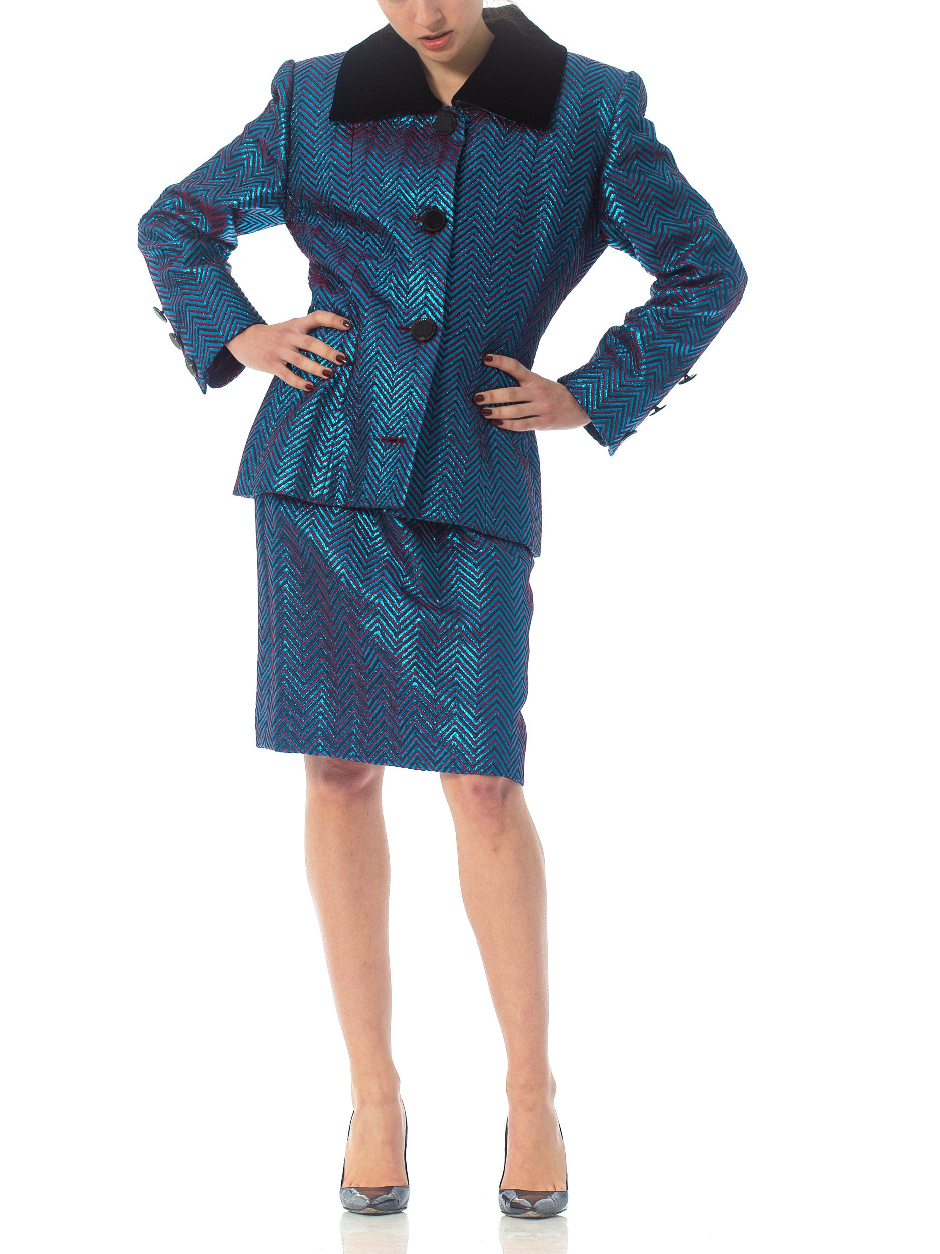 1980'S JAMES GALANOS Haute Couture Magenta Silk & Blue Lurex Skirt Suit With Belt