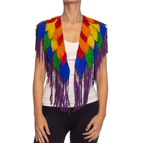 MORPHEW COLLECTION Rainbow Suede Parrot Feather Leather Cape