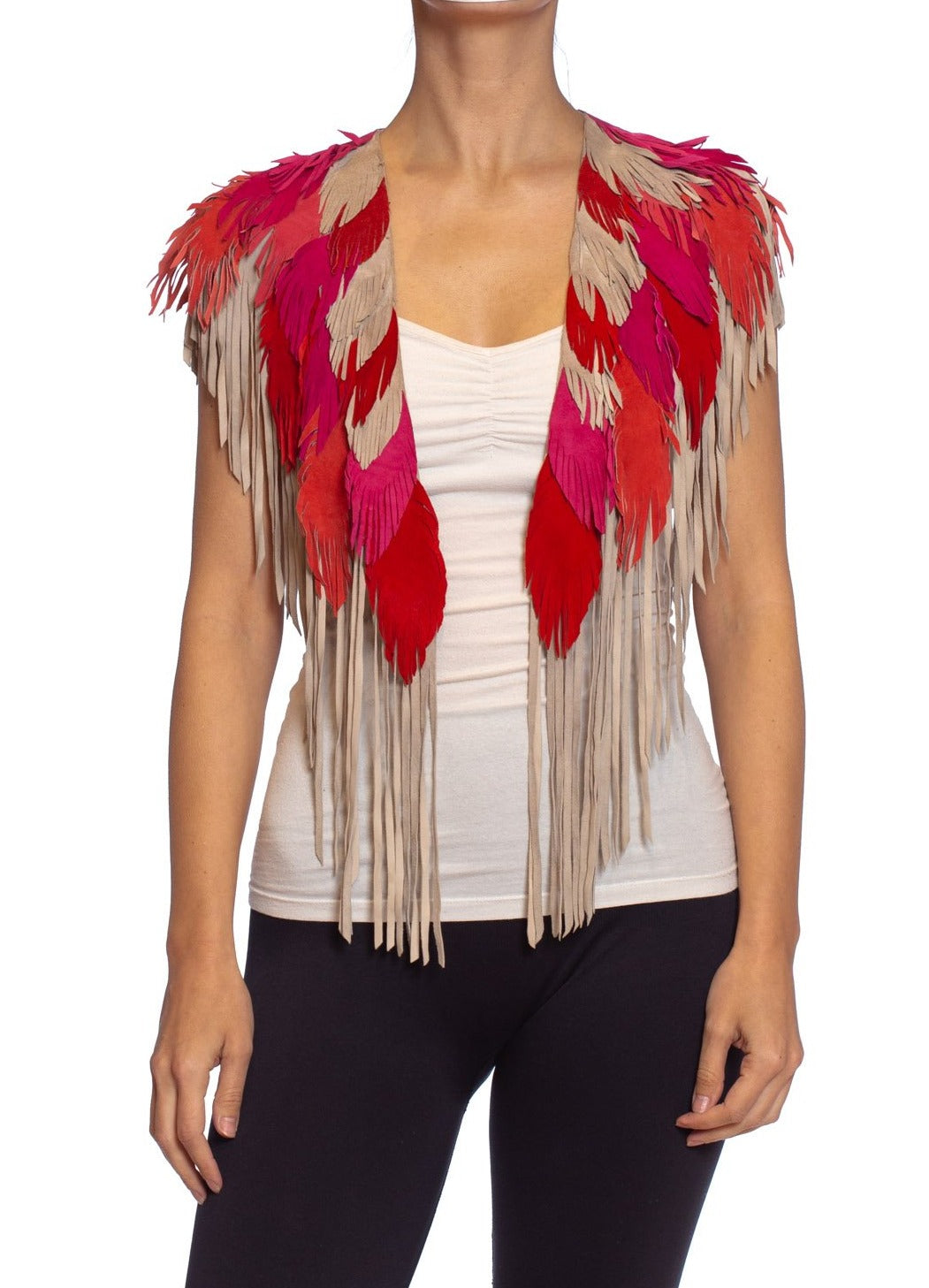 MORPHEW COLLECTION Pink & Sand Suede Feather Leather Cape
