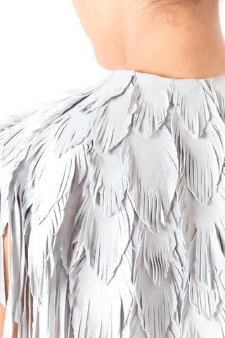MORPHEW COLLECTION Dove Grey Suede Feather Leather Cape