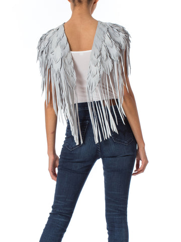 Ice Blue Feather Leather 1970s Inspired