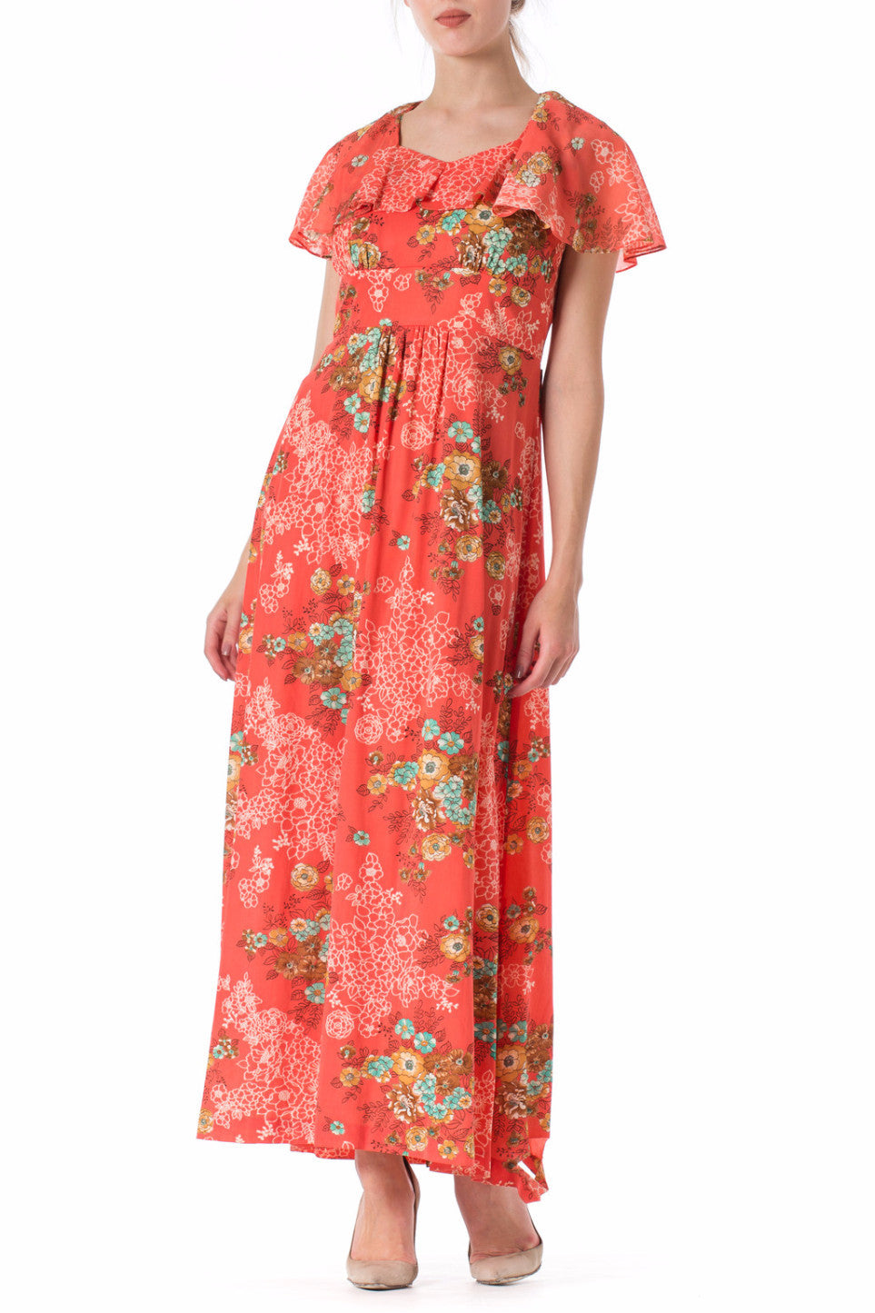 1970s Floral Printed Collar Maxi Summer Dress