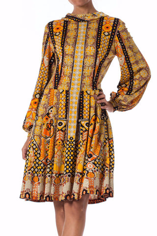 1960s Mod Ethnic Print Long Sleeve Pleated Skirt Dress