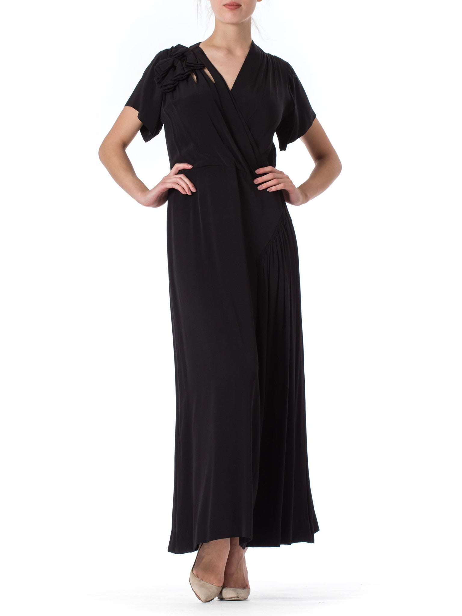 1930s Black Structured Bow Detail Short Sleeve Dress