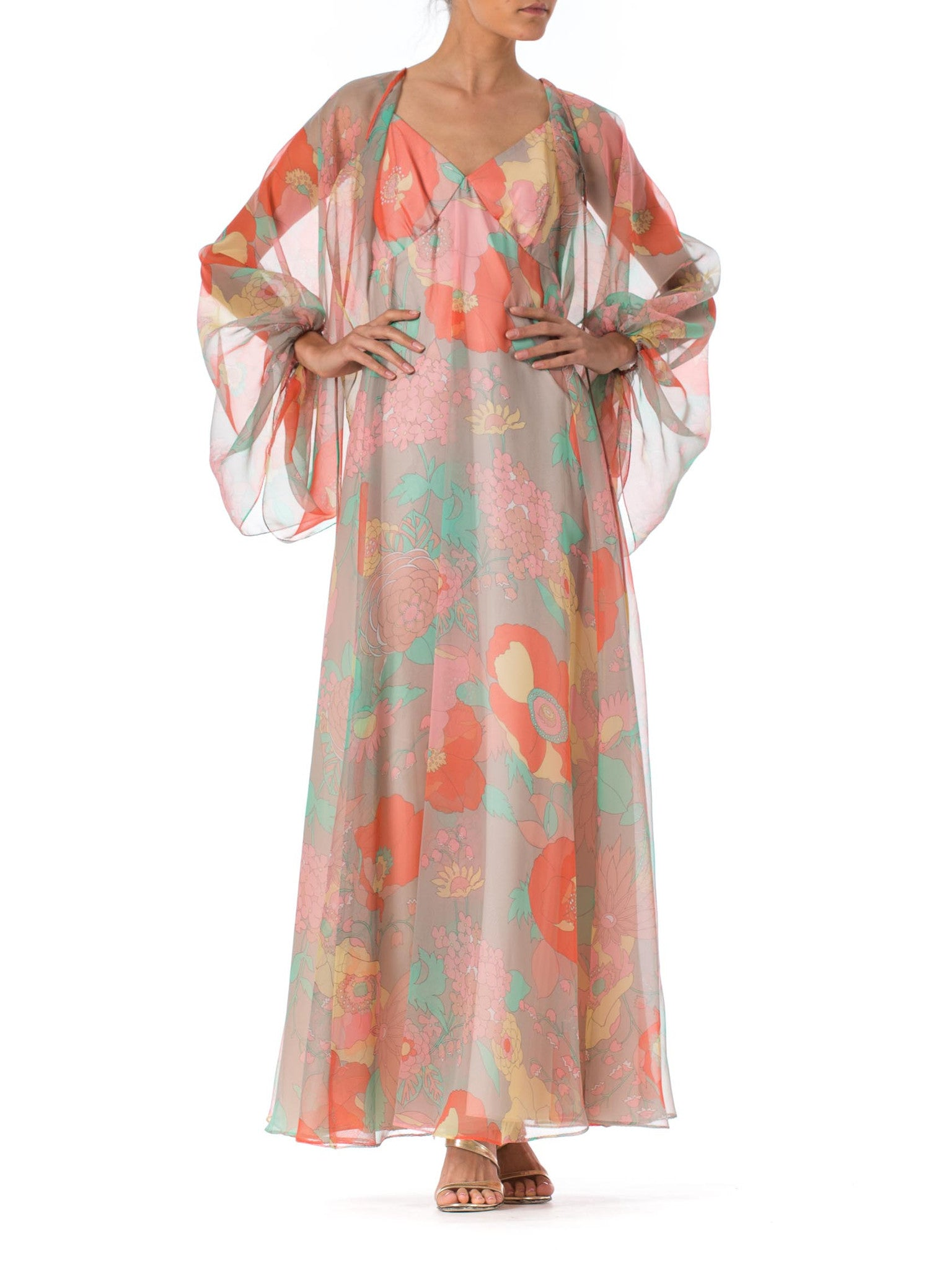 1970s Floral Printed Flowy Chiffon Maxi Halter dress with sleeveed cape
