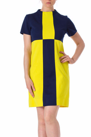 1960s MOD Colorblock Blue Yellow Short Sleeve shift Dress