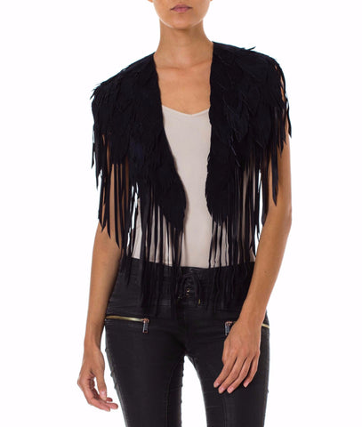 Black Feather Leather 1970s Inspired