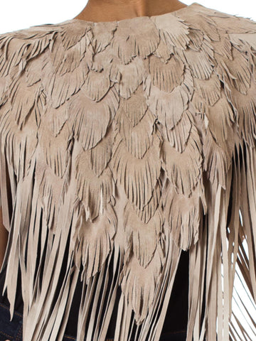 MORPHEW COLLECTION Sand Suede Feather Leather Cape