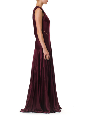 2000S CALVIN KLEIN Burgundy Bias Cut Silk Crepe Back Satin Patchwork Cut-Out Gown With Very Full Skirt