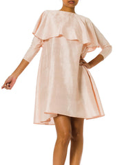 1980s Anne Marie Beretta Minimal Raw Silk Pink Dress with Attached Caped Sleeves