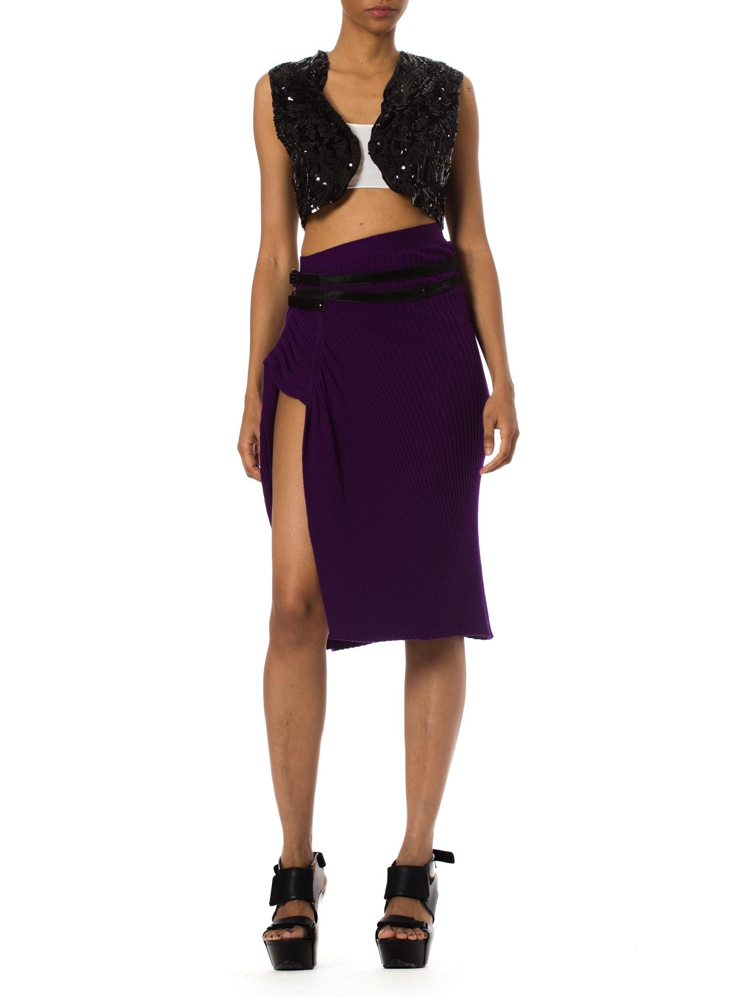 1990S JEAN PAUL GAULTIER Purple Wool Rib Knit  Skirt With Side Slit & Black Pony Hair Belt