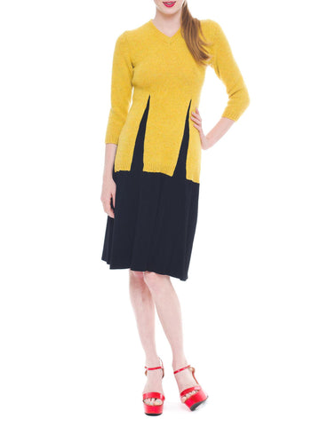 Smart And Casual Black And Deep Yellow Knit Jean Paul Gaultier Dress