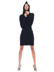 Incredible Alaia Asymmetrical Body-con Dress with a Hood and Zippers