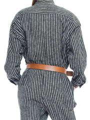 1980S Issey Miyake Dark Green & White Striped Cotton Utility Jumpsuit (Belt Not Included)
