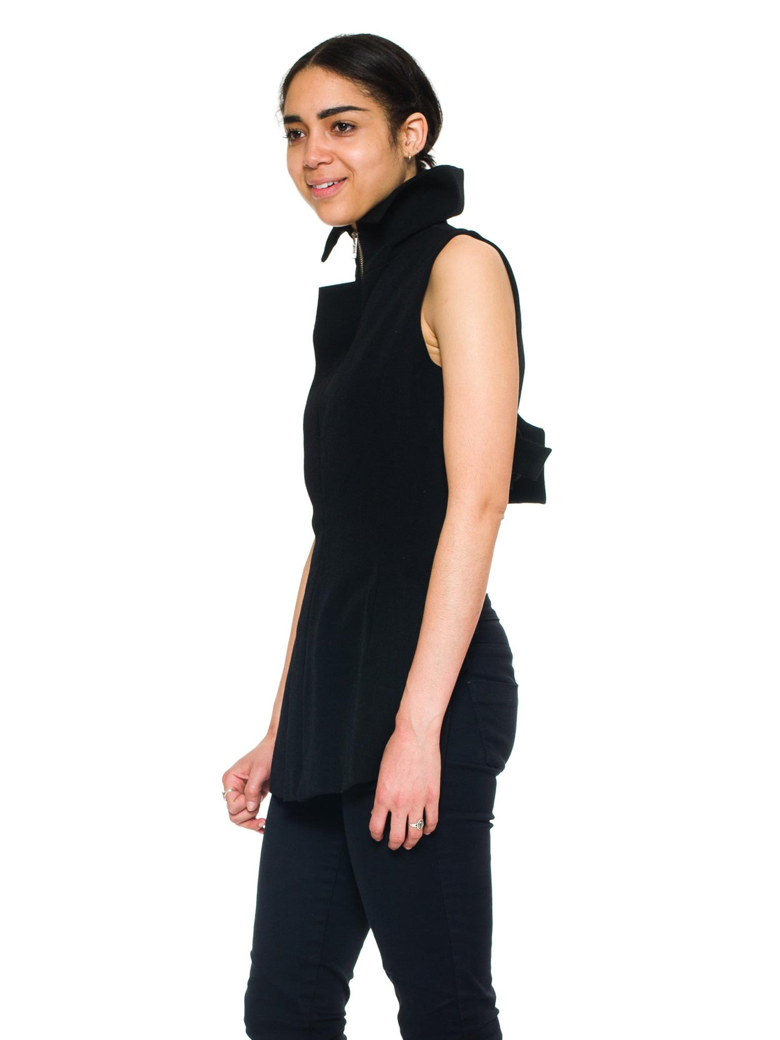 1990S YOHJI YAMAMOTO Black Wool Twill Deconstructed  Vest With Two Way Zipper
