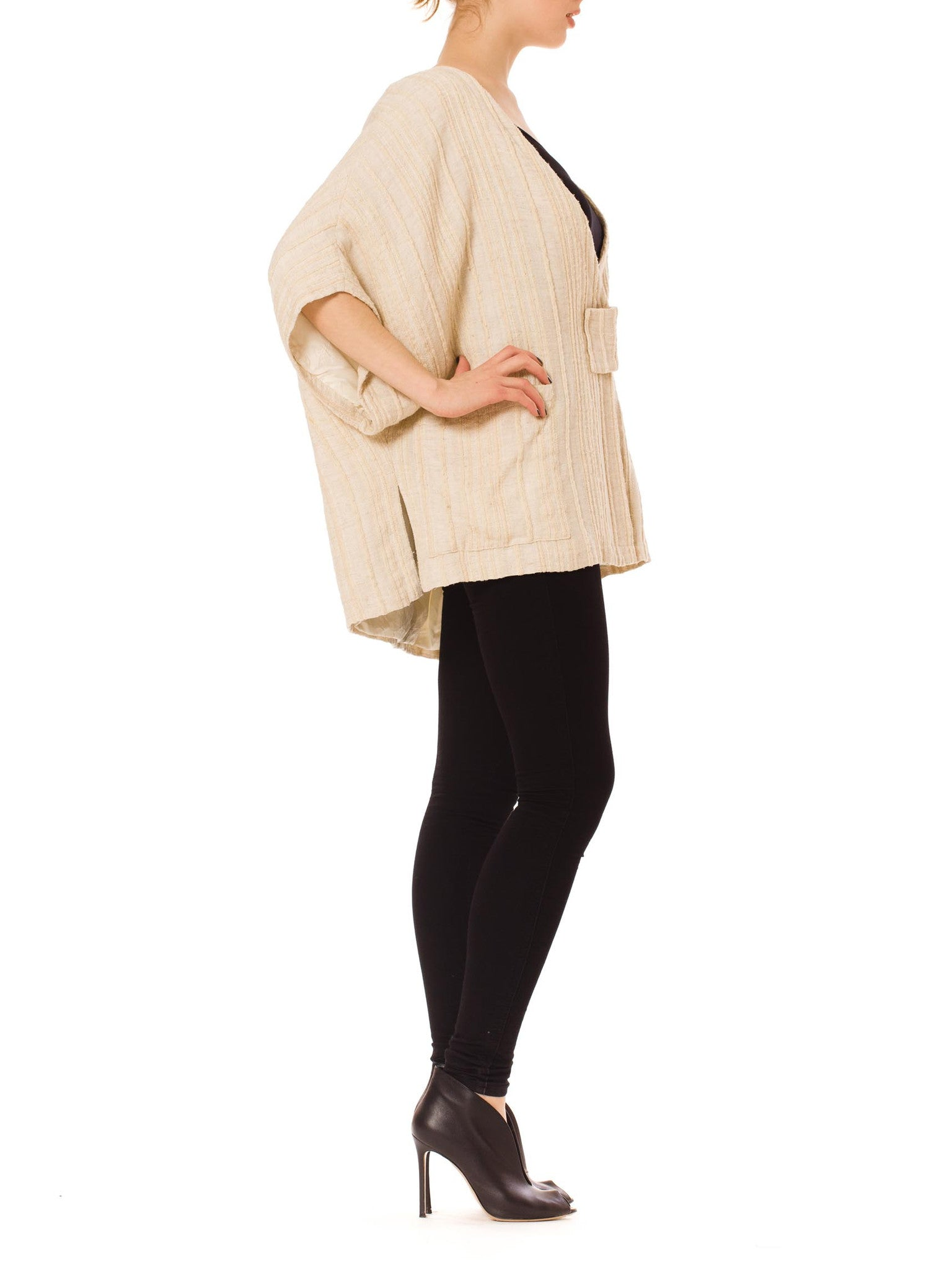 1980s Issey Miyake Style Wool And Linen Origami Jacket