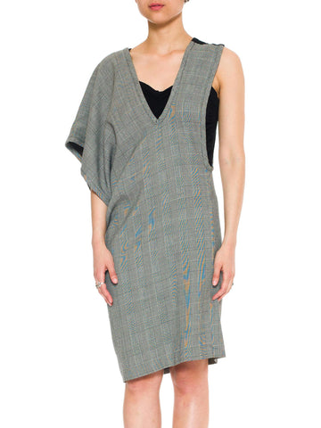 1990S COMME DES GARCONS Black & White Wool Glenplaid Pinafore Style Dress With Rayon Lining, 1991